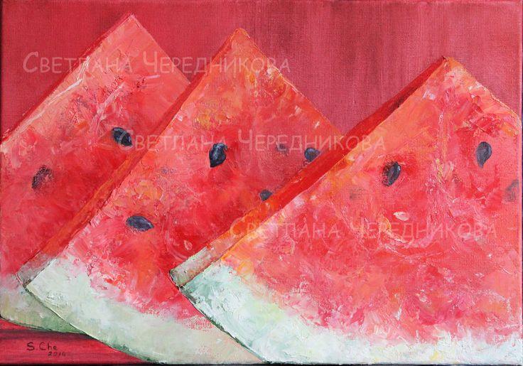 арбузы - ярко-красный,арбуз,масло,холст,холст на подрамнике,живопись мастихином
