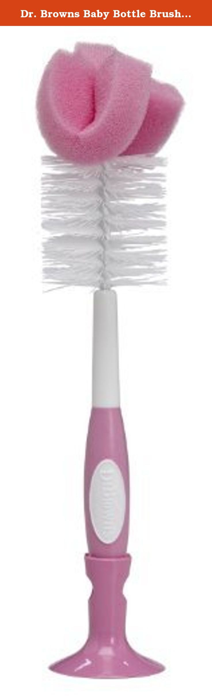 Dr. Browns Baby Bottle Brush - Pink - 2 Count. Bottle Brushes For use with all Dr. Browns baby bottles. Combination sponge and bristles for thorough cleaning of bottles Chevron channels at the base for cleaning nipples. Combination sponge and bristles for thorough cleaning Grooved no-slip handle for easy grip Storage clip to house brush near sink BPA Free.