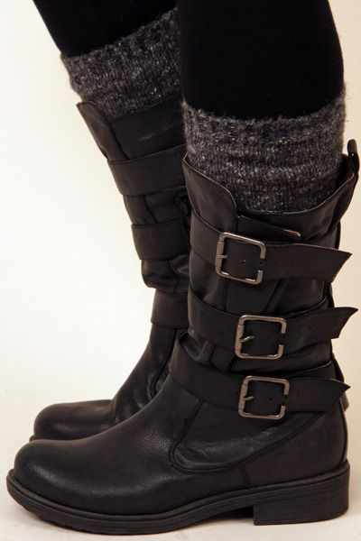 Black Burnish Buckle Boots