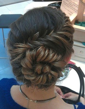 Fishtail braid bun updo romantic bridal bridesmaid formal hair wedding