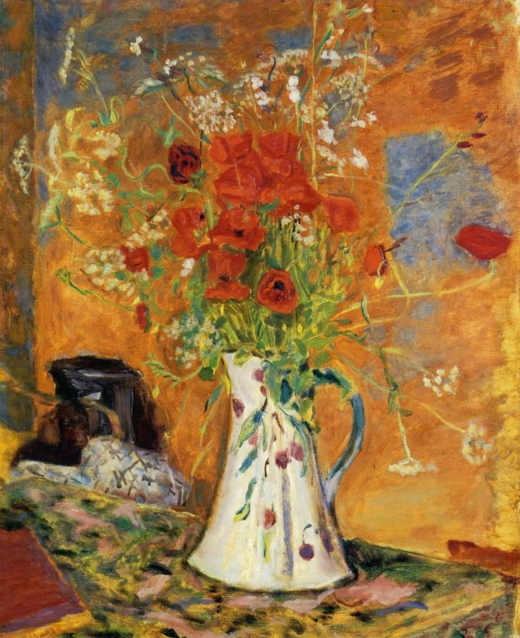 """Open Window - Pierre Bonnard - Created in 1921, the work was inspired by the view from the sitting room of """"Ma Roulotte"""", the painter's house at Vernonnet, in the Seine Valley."""