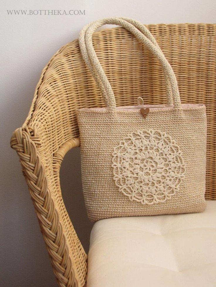 crochet, bag, cotton, heart wood button, lace, mandala, fabric, powder colors http://bottheka.com/en/naturallylace