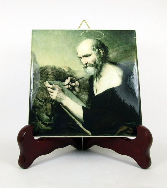 Saint Mark the Evangelist wall hanging ceramic by TerryTiles2014