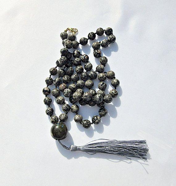 Halskette Quaste Silbergrau Labradorit Leoparden Japsis
