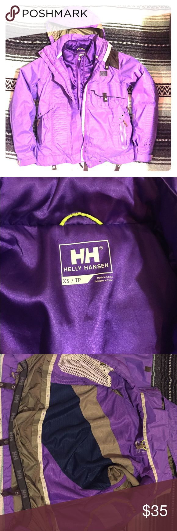 Purple Helly Hansen snowboard jacket! Helly Hansen 3-in-1 snowboard jacket. Showing signs of wear on faux leather and has seen a lot of snow. Very warm and comfortable. This item is cross listed. Offers welcome! Helly Hansen Jackets & Coats Puffers