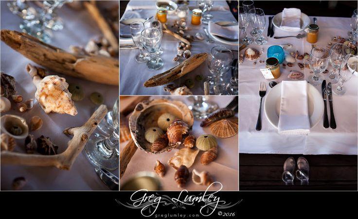 Beach Table Decor.  Strandkombuis Beach Wedding Venue near Cape Town, South Africa.