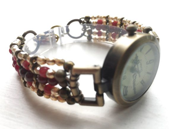 Bracelet watch dress watch garnet gold by ShereesTrinketBox