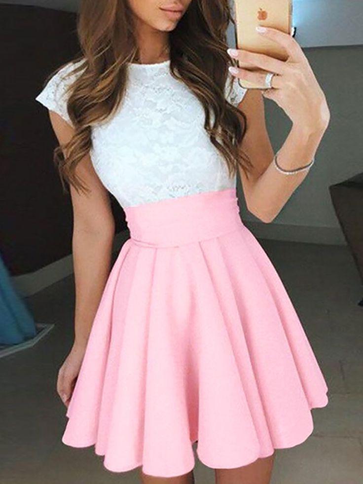 Lace Patchwork High Waist Pleated Mini Dress
