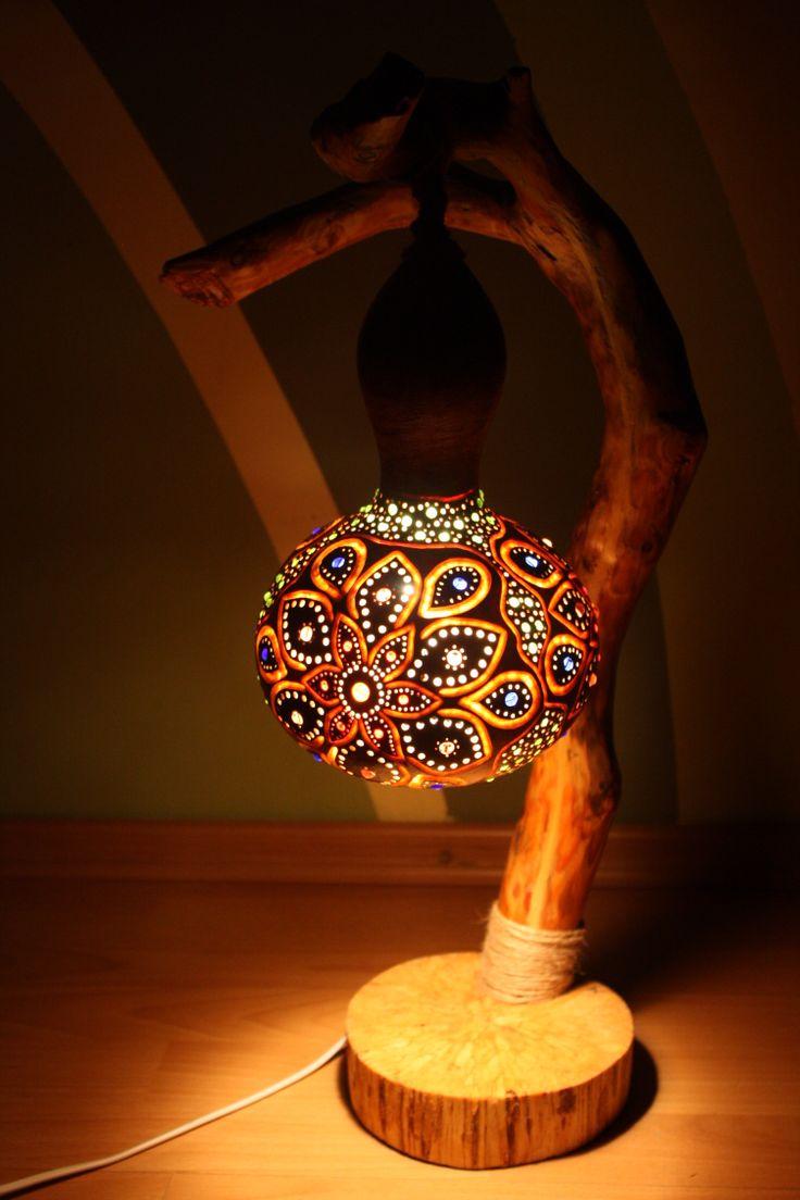 Lamp made from gourd and wood. #gourd #art #light #handmade