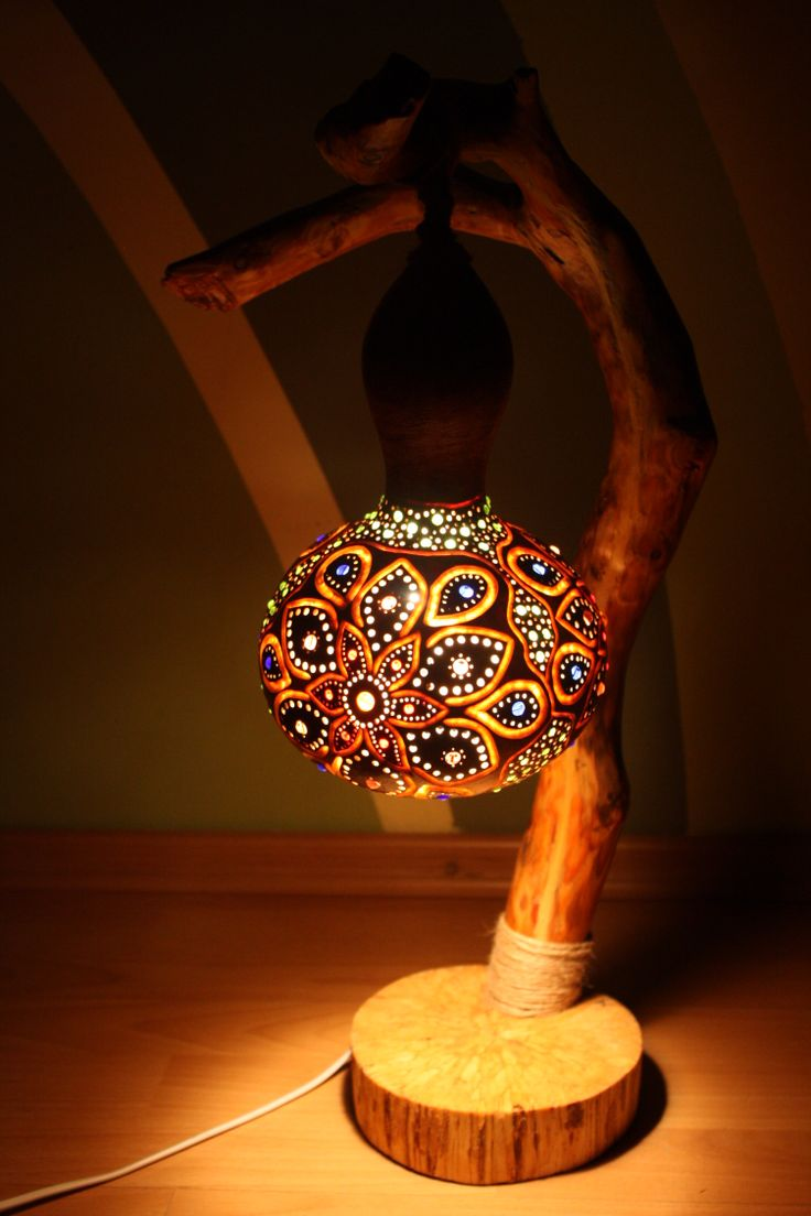 Lamp made from gourd and wood. #gourd #art #light #handmade