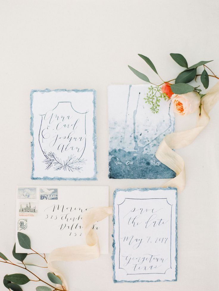 Watercolor wedding invitation suite: Floral Design: Details Dallas - http://www.stylemepretty.com/portfolio/details-dallas Photography: Alba Rose Photography - www.albarosephotography.com   Read More on SMP: http://www.stylemepretty.com/2017/03/23/glittery-gold-engagement-session/