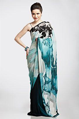 Aqua screen print saree | Satya Paul