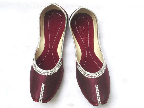 Maroon Color Flat Shoes Women Flat Shoes Punjabi by BeautyShop21