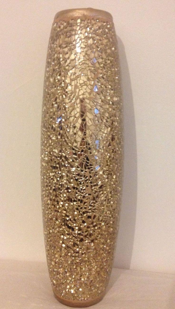 Large Gold Crackle Vase Ebay Vase Vases Decor Mosaic