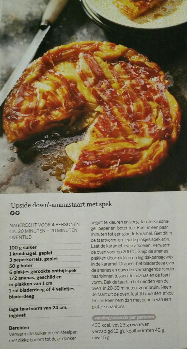 Upside down-ananastaart met spek; 20 min bereiden + 20 min oven.
