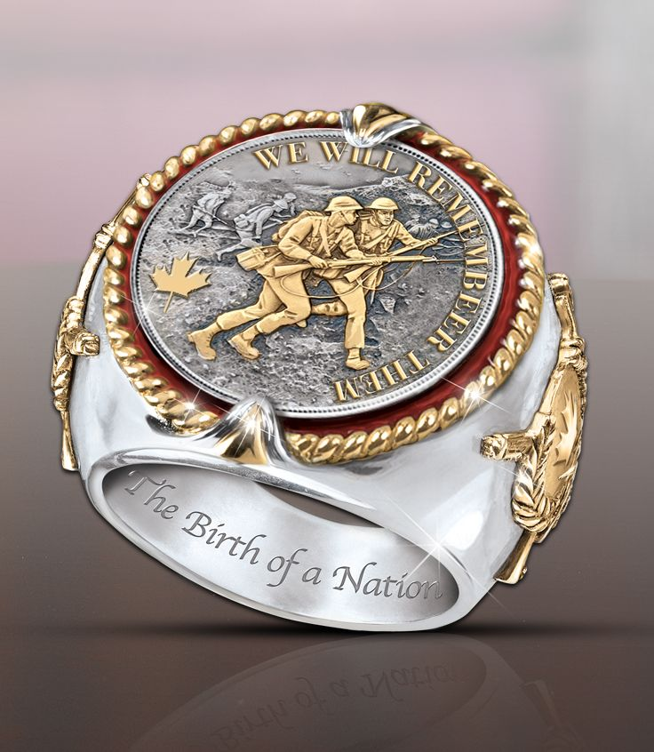 Rare rhodium-plated and 24K gold-plated men's ring embossed with a Vimy Ridge battle scene, national symbols and historic designation.