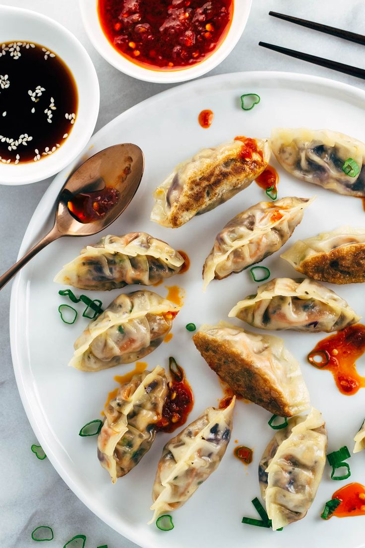 Pan Fried Crispy Vegetable Tofu Dumplings - A simple Chinese recipe that is so fun to make! An irresistible vegetarian appetizer dipped in your favorite sauce. | jessicagavin.com