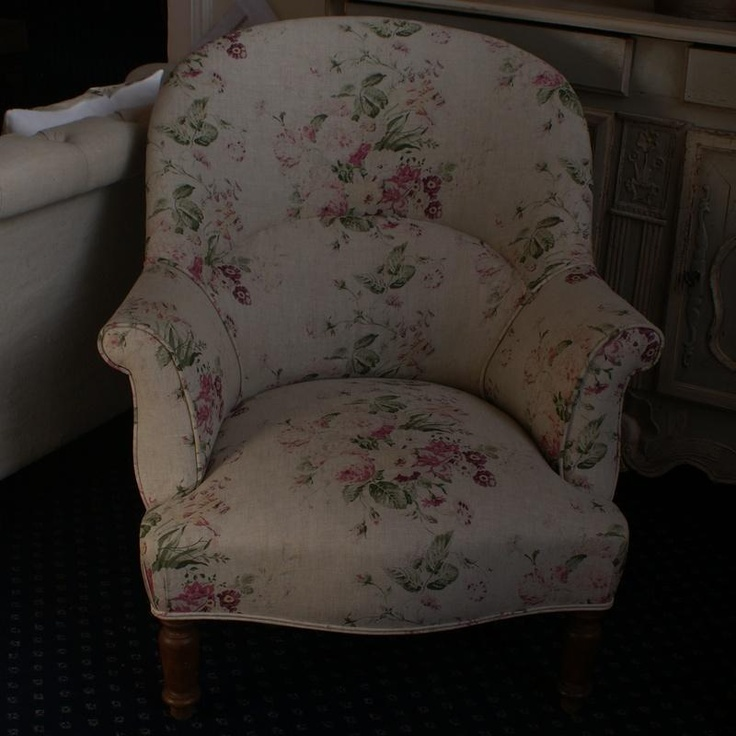 Large Antique French Tub Chair Re Upholstered In Cabbages U0026 Roses  U0027Constance Multiu0027 Fabric | Seats   Settes, U0026 Ottomans | Pinterest | Tub  Chair, ...