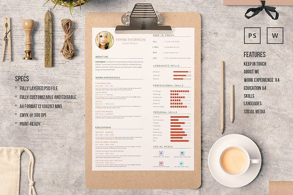 Word Resume Template by Piksell on @creativemarket
