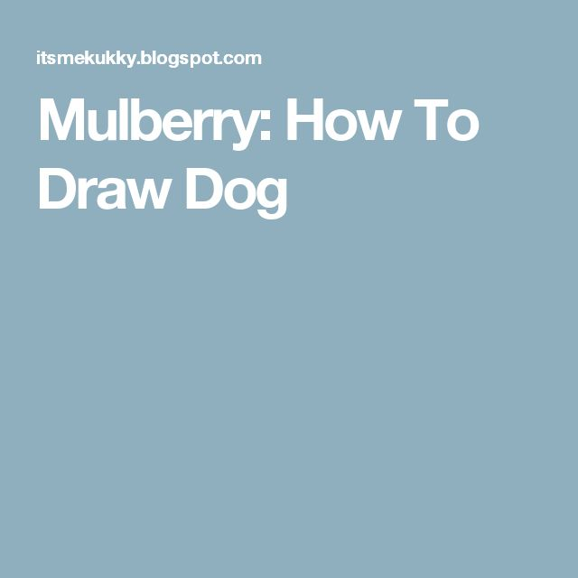 Mulberry: How To Draw Dog