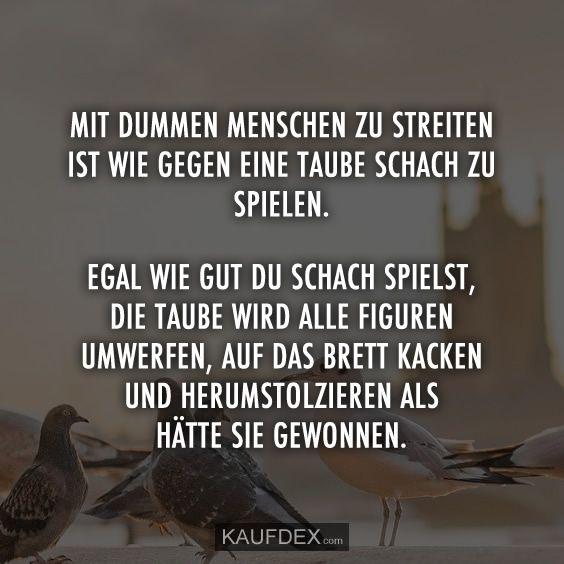 Mit dummen Menschen zu streiten, ist wie mit einer Taube