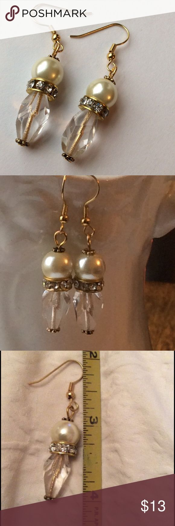 BOGO SALE 🌹 Fantastic Pearl & Gold Earrings These are great!!! A Large Faux Pearl, a Glass Globe shaped Bead & an Over Sized Jeweled Rondelle Jewelry Earrings