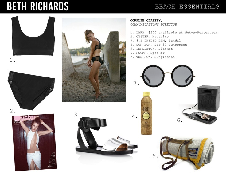 Are you as excited about the Olympics as we are? Our sporty Lara is featured in Coralie's Beach Essentials, our Communications Director.    The featured Lara suit is available at Net-A-Porter.com