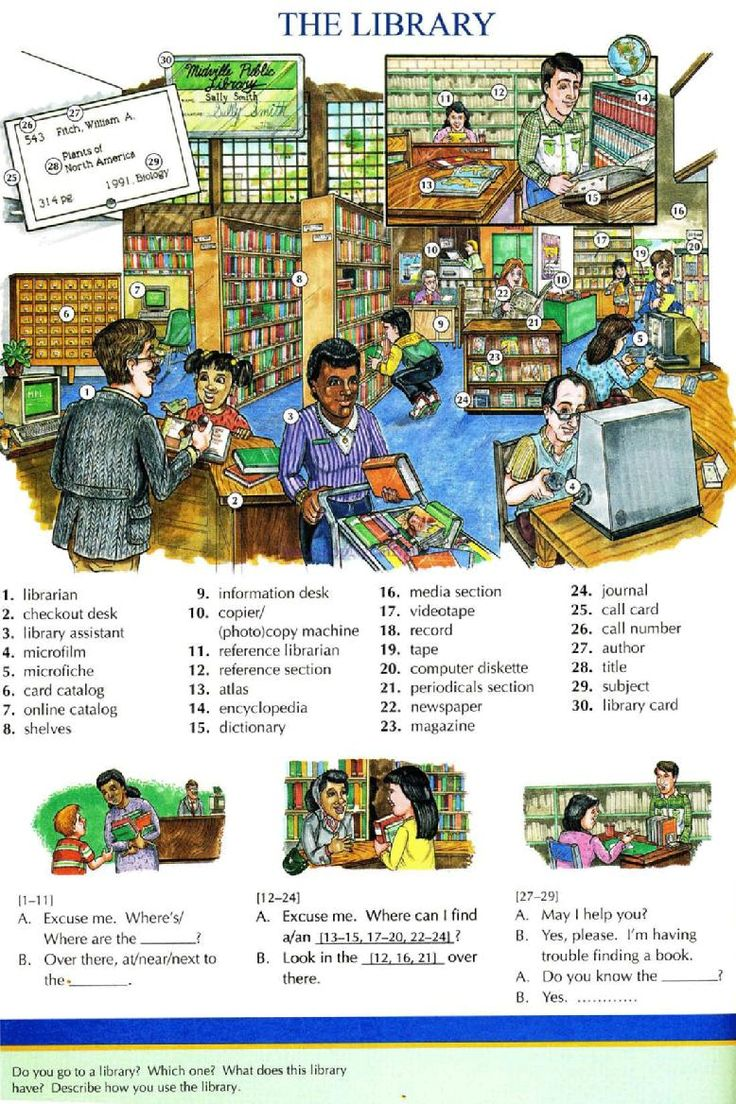 72 - THE LIBRARY - Picture Dictionary - English Study, explanations, free exercises, speaking, listening, grammar lessons, reading, writing, vocabulary, dictionary and teaching materials