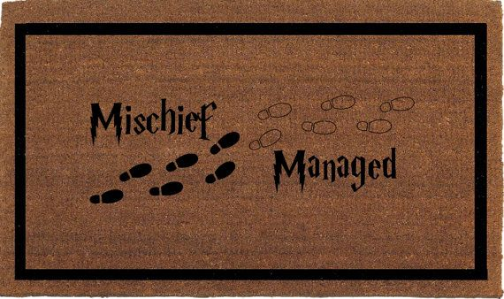 Mischief Managed Harry Potter Door Mat  Coir by FranklinandFigg