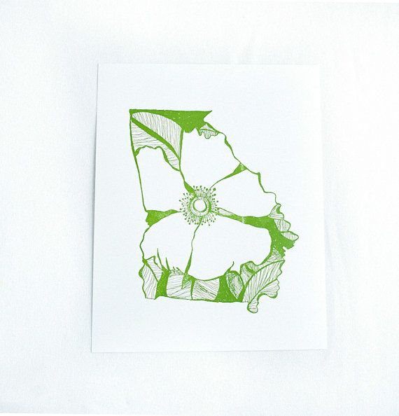 Letterpress Georgia Cherokee Rose by thimblepress on Etsy