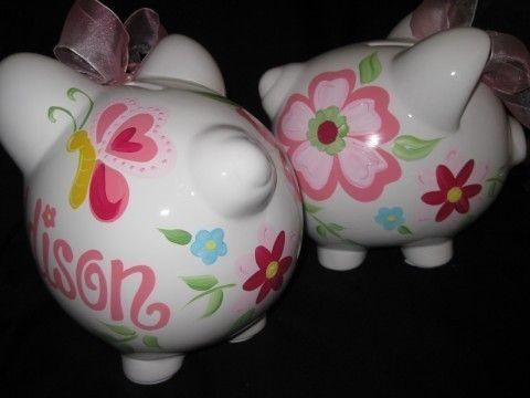 192 best hand painted piggy bank images on pinterest little pigs personalized piggy bank trivoli garden by andrewandelladesigns negle Images