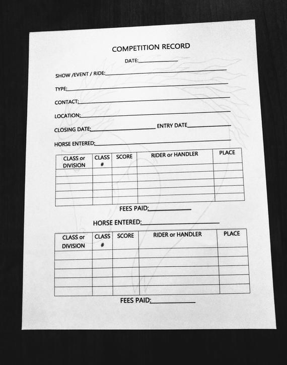Horse Competition Record Equine Journal Planner Letter A4 Size