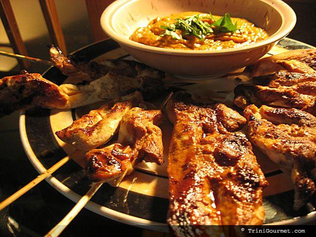 Chicken Satay with Spicy Peanut Dipping Sauce (recipe) | TriniGourmet ...