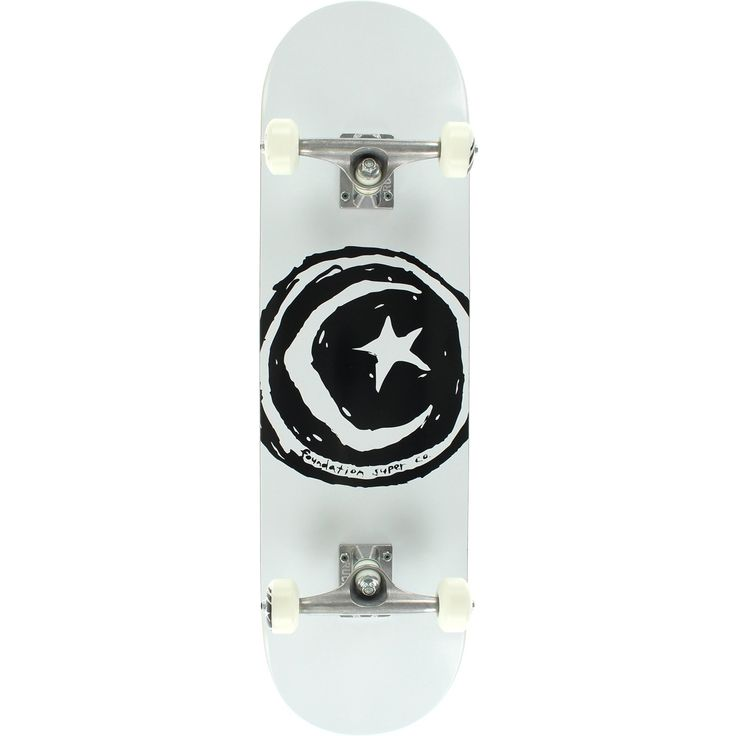 "Foundation Skateboards Star and Moon White Complete Skateboard - 8.25"" x 32"". One (1) Foundation Skateboards Star and Moon Complete from Foundation Skateboards. Deck Size: 8.25"" x 32"". Factory assembled by Foundation Skateboards Skateboards and ready to skate. Includes trucks, wheels, bearings, hardware, and grip tape."