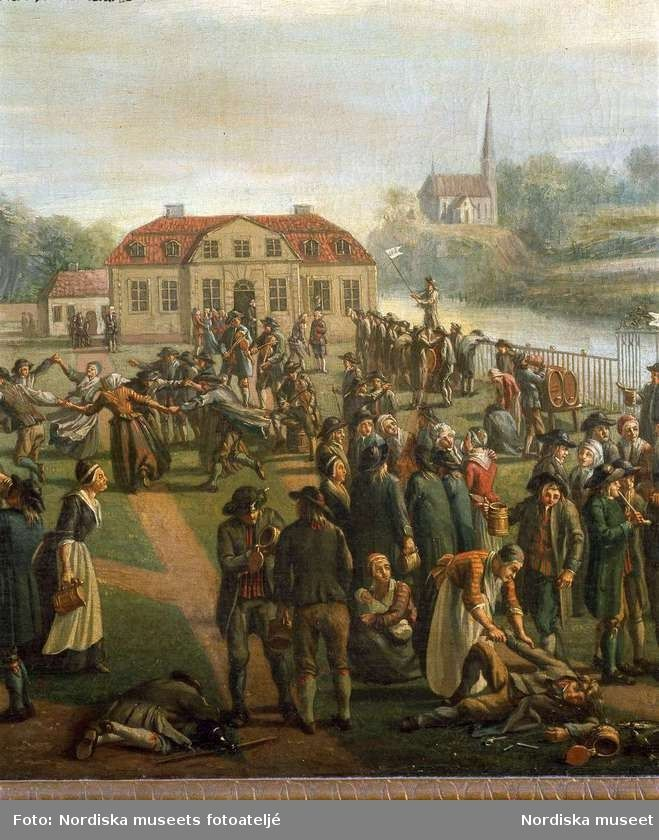 """Digitalt Museum - """"Slåtterfest vid Svartsjö"""". Oljemålning av Pehr Hilleström, ca 1780. Nordiska museets föremål inv.nr 261301. Detaljbild."""