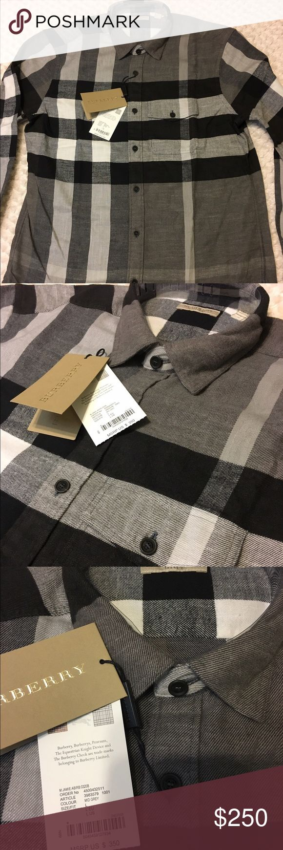 New authentic burberry shirt for men L 2016 new with tags 100% authentic burberry shirt size large gray color 100% cotton original price is 350$ Burberry Shirts Casual Button Down Shirts