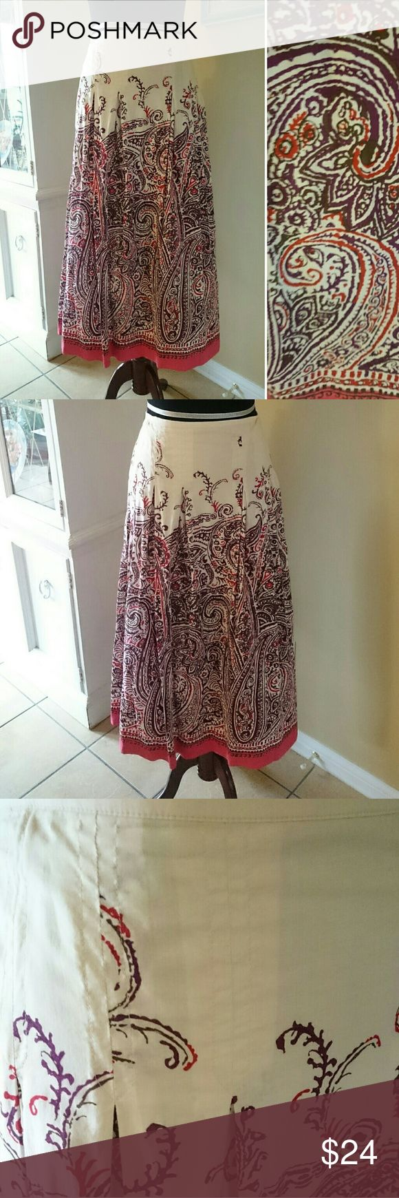 """Beautiful Talbots Skirt EUC. Such a pretty skirt!  Fully lined, light weight skirt will make a perfect edition to your spring and summer wardrobe.  Colors are cream, plum and a dusty coral. Zips on the side. 100% cotton.  Laying flat from top to hemline is about 33.5"""" and across at the waist is 18.5"""". Talbots Skirts Maxi"""
