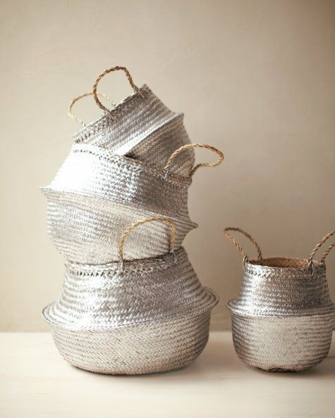 Silver Baskets. All you'll need is a can of metallic spray paint and some old wicker baskets.
