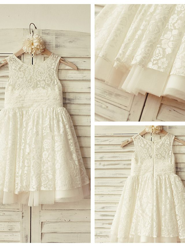 A-line Knee-length Flower Girl Dress - Lace / Tulle Sleeveless - USD $54.99