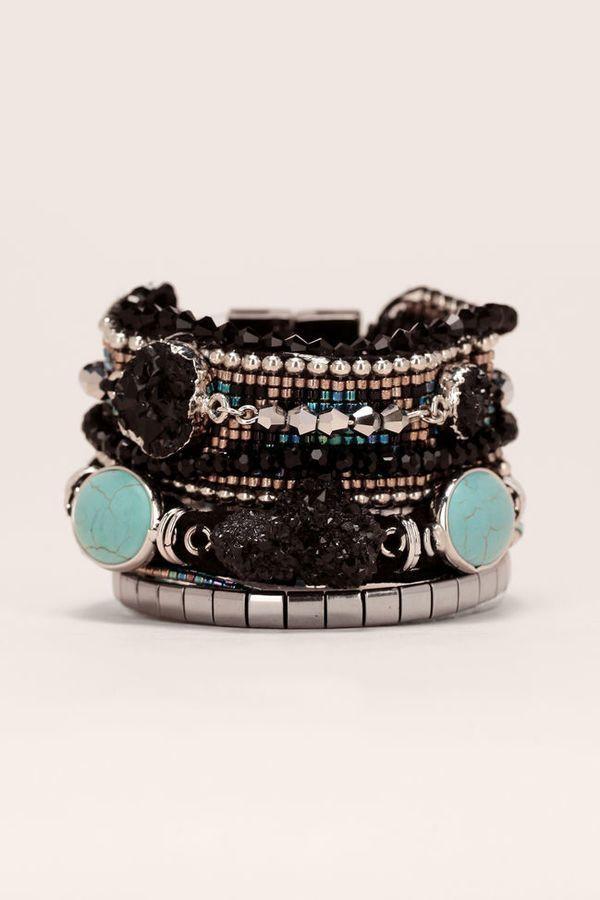 Epic Hipanema Manchette Noire Cordes pierres perles Noir turquoise Carbone