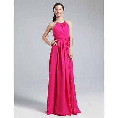 Vestido de dama de honor Hasta el Suelo Gasa Corte Recto Escote Joya Vestido – USD $ 64.99