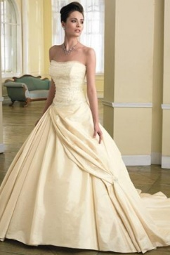 "Beauty and the Beast wedding dress.  love the ""royal"" sash on the skirt of the dress."