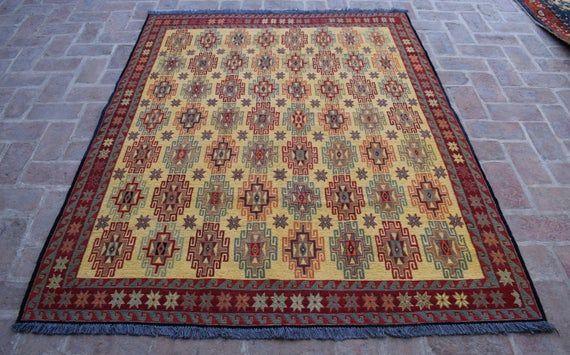 Size: 198 x 161 cm, Beautiful Handmade Vintage Afghan Best Quality Soumak Area Kilim, Decorative Han