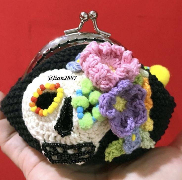 Crocheted skull pouch