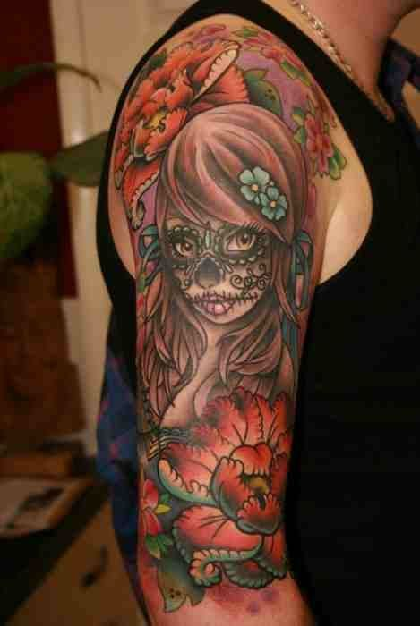 Sugar Skull Girl Sleeve Tattoo Cool Tats Pinterest Tattoos