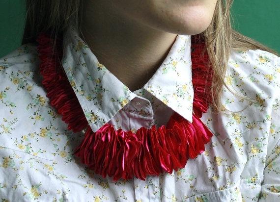 Unique rose satin necklace