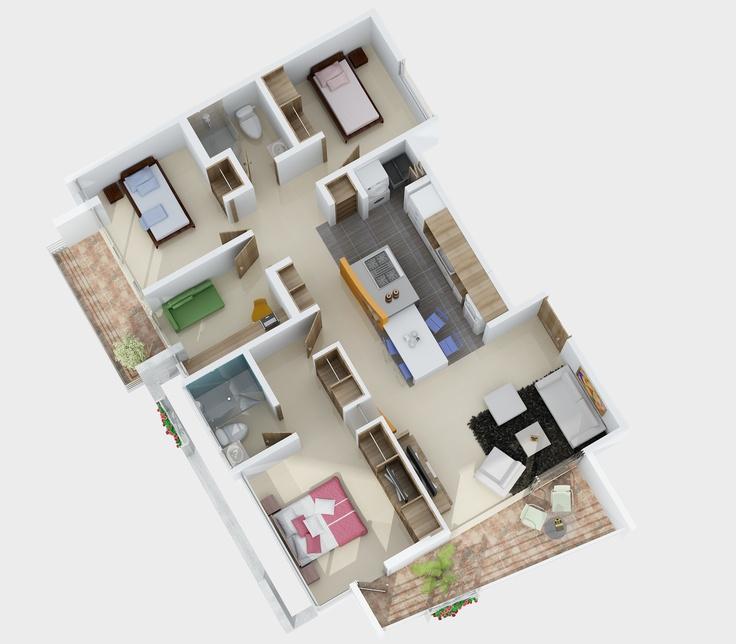 Axonometría Apartamento 105M2