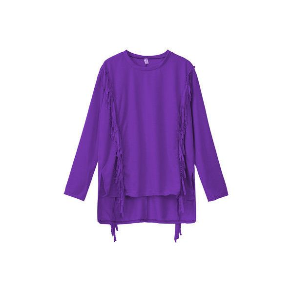 Casual Tassels Long Sleeve O-neck T-shirt (26 AUD) ❤ liked on Polyvore featuring tops, t-shirts, purple, women tops t-shirts, long sleeve t shirts, purple long sleeve top, long sleeve polyester t shirts, polyester t shirts and purple tee