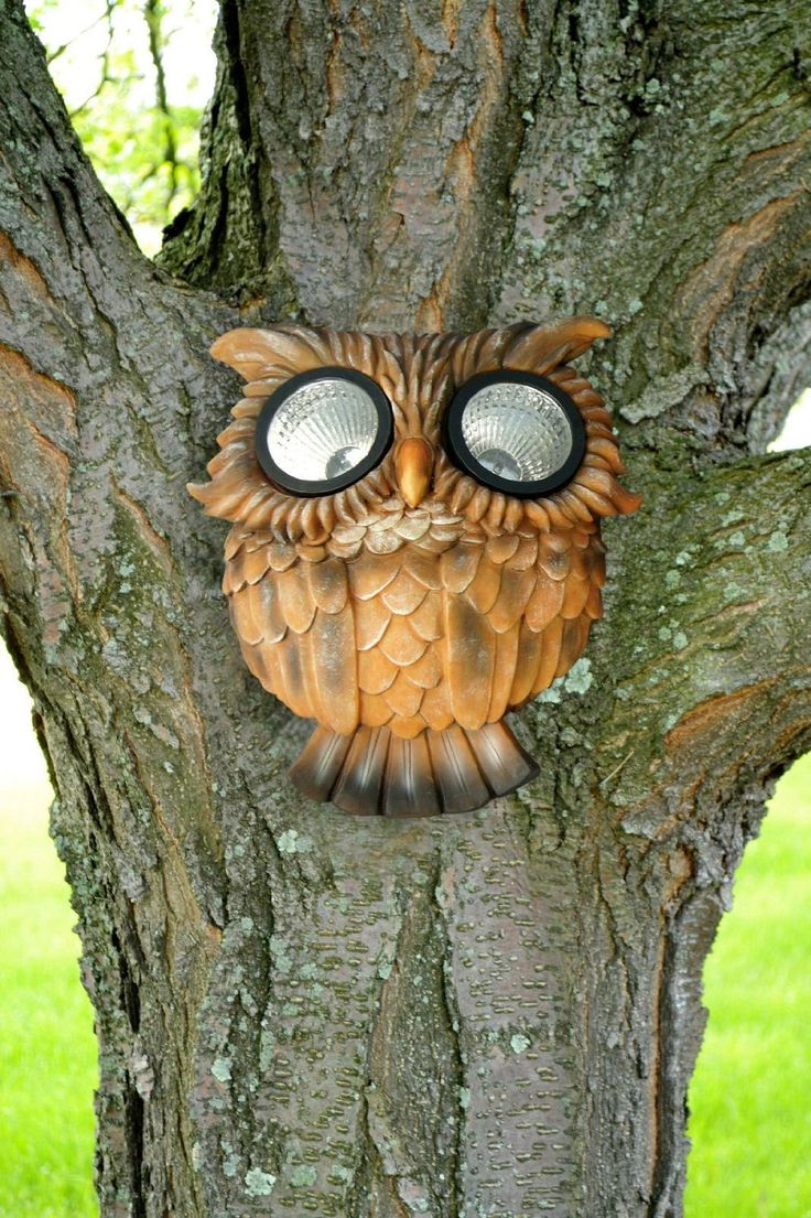Owl lawn ornaments - Amazon Com Outdoor Garden Tree Face Solar Owl Patio Lawn