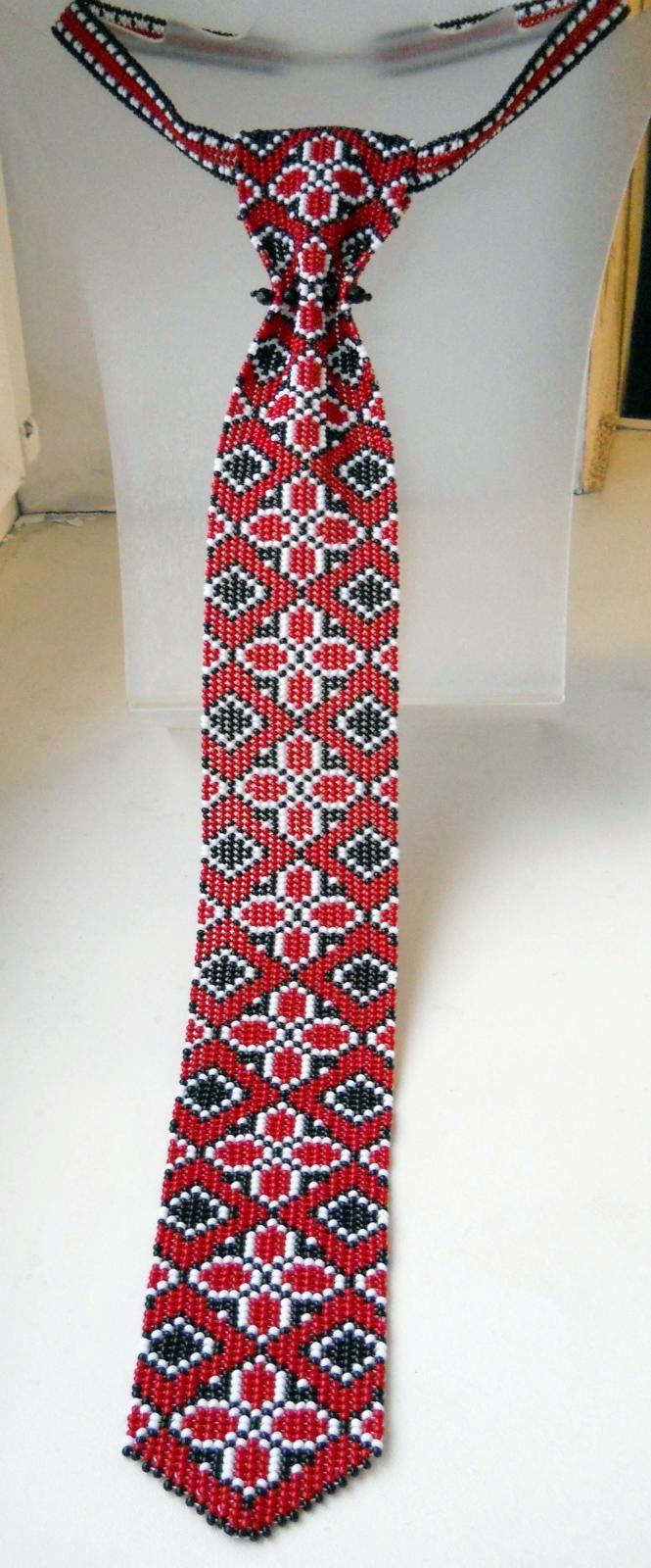 "Мужской бисерный галстук ""Славянский"" - Beadloomed man's tie in traditional Ukrainian gerdan pattern"